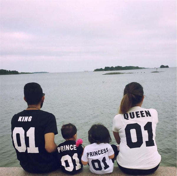 Matching Princess Prince Family King Queen Letter Print Shirt Cotton tshirt-Justt Click