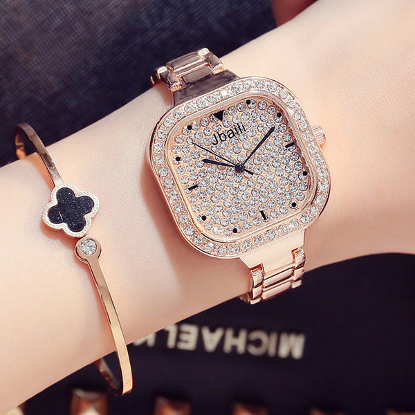 2017 Luxury Brand Bling Rhinestone Steel Quartz Women Watch-Justt Click