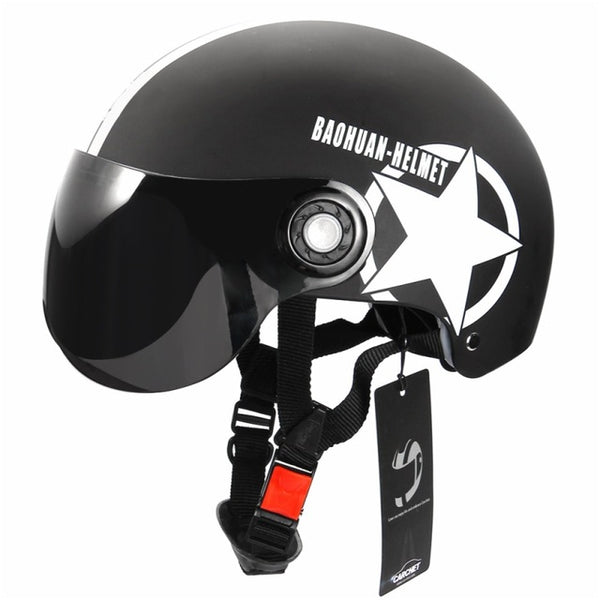 Motorcycle Helmet Half Open Face Adjustable Size Protection Gear Head Helmets Unisex Five-pointed Star Black Red Newest-Justt Click
