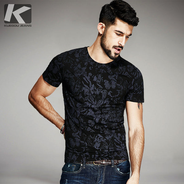 KUEGOU 2017 Summer Mens Casual T Shirts Black Flower Print Brand Clothing For Man's Short Sleeve-Justt Click