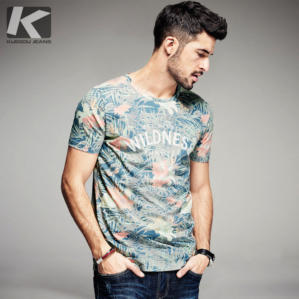 2017 Summer Mens Fashion T Shirts Letter Flower Print Green Brand Clothing Man's Short Sleeve-Justt Click