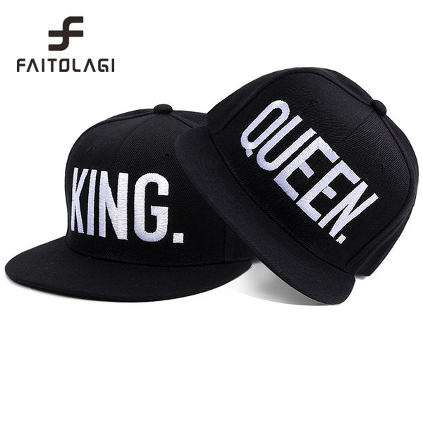 107815e20f6 New 2017 Hot Sale KING QUEEN Hip Hop Baseball Caps Canvas Letter Laps  Lovers Snapback Sun ...