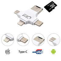 4 in 1 Type-c/Lightning/Micro USB/USB 2.0 Memory Card Reader Micro SD Card Reader for Android Ipad/iphone 7plus 6s5s OTG reader-Justt Click