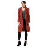New Women Fashion Elegant Woolen Long Trench Coat With Belt Ladies Wool Coat Winter Jacket Long-Justt Click