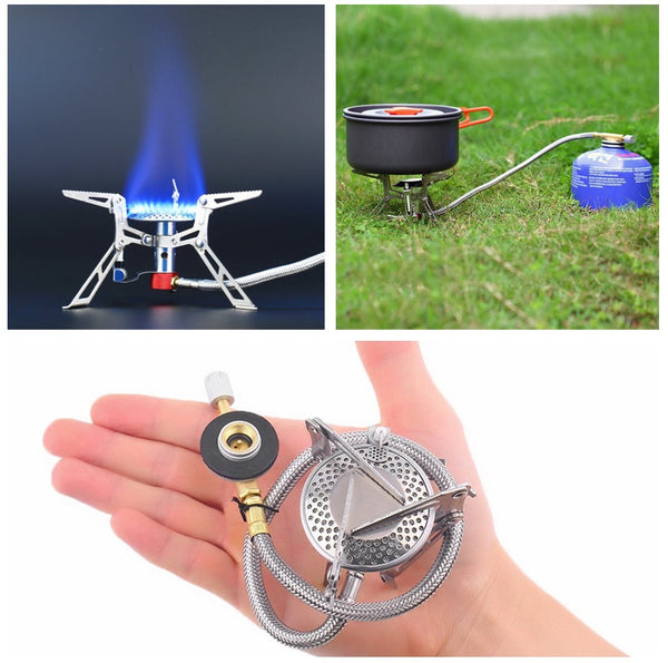 Outdoors Camping Hiking Ultralight Burning Burner Gas Stove Steel Cooker Picnic Cooking Portable BBQ Furnace with Piezo Ignition-Justt Click
