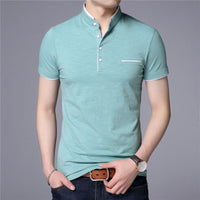 Mandarin Collar Short Sleeve Tee Shirt Men 2017 Spring Summer New Top Men Brand Clothing Slim Fit Cotton T-Shirts S7645-Justt Click