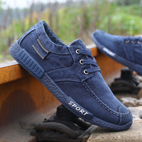New Fashion Canvas Shoes For Men Low Style Comfortable Denim Mens Shoes Lace up Flats Casual Shoes Man Summer-Justt Click