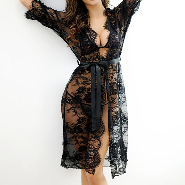 Sexy Women Nightgowns & Sleepshirts Three Quarter O Neck Nightgowns Solid Full Lace Transparnet Hollow Out Dress-Justt Click