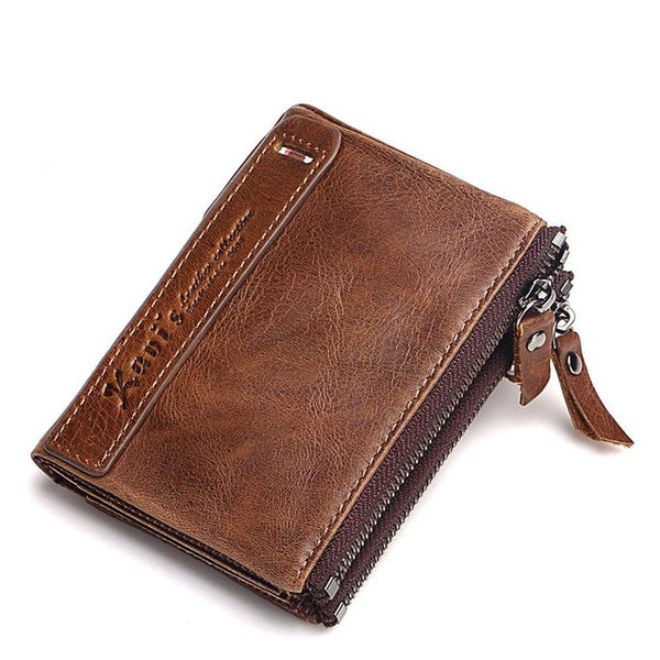 KAVIS 100% Genuine Leather Men Wallet Small Zipper Men Walet Male Short Coin Purse-Justt Click