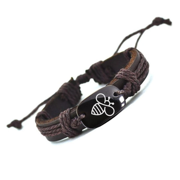Customized Bracelet Lovely Bee Leather Bracelet Best Selling Handmade Bracelets for Men-Justt Click