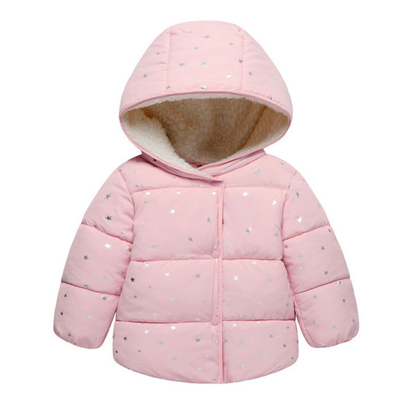 Autumn Winter Baby Outerwear Infants Girls Hooded Printed Princess Jacket Coats first birthday Gifts Cotton Padded Clothes-Justt Click