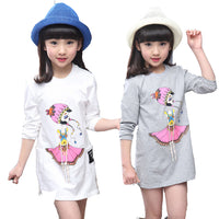 Kids Girls T-shirts Cute Cartoon Patterned Cotton Long Shirts 2017 New Spring Autumn Kids Clothing Tops For Girls 3-12 Years-Justt Click
