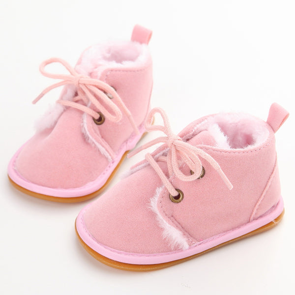New Fashion Solid Lace-Up Baby Boots Cross-tied For Autumn/Winter Baby Shoes For Warm Baby Plush Boots Shoes Wholesale-Justt Click