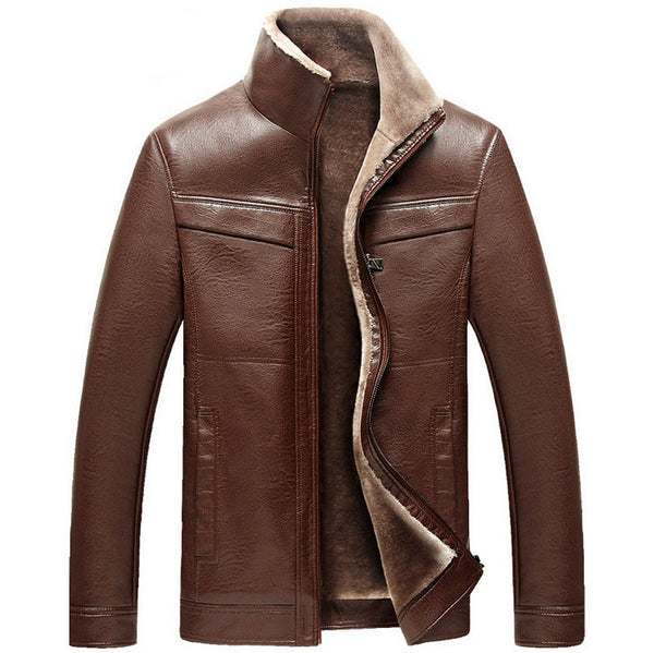 New arrival Men leather jackets Winter thicken Fleece PU leather jackets casual coats-Justt Click