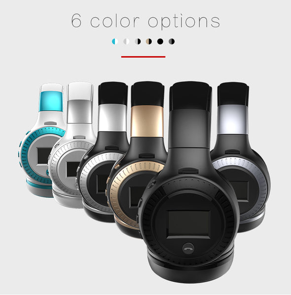 Headphone LCD Display HiFi Bass Stereo Earphone Bluetooth Wireless Headset With Mic FM Radio-Justt Click