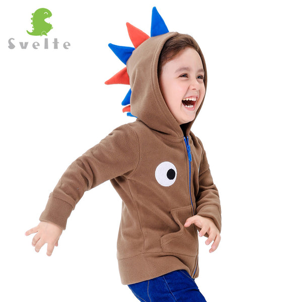 Kids Boys Cute Polar Fleece Dinsaur Role Play Hoodies Children Boy's Eyes embroidery on the chest Hooded Jackets-Justt Click