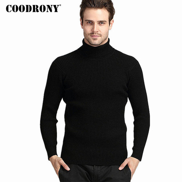 Winter Thick Warm 100% Cashmere Sweater Men Turtleneck Brand Mens Sweaters Slim Fit Pullover Men Knitwear Double collar-Justt Click