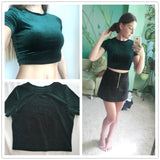 Velvet T-shirt Women Hunter Green O Neck Short Sleeve Sexy Summer Crop Tops 2017 New Fashion Slim Basic Casual T-shirt-Justt Click
