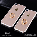 iPhone 7 Phone Ring Holder Case Silicone Cover Original For iphone 8 Plus Case Luxury Metal Stent Slim Phone Soft Shell-Justt Click