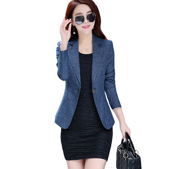 Women's Candy Color Lapel One Button Office Jacket Female Plus size Casual Business Work Blazer OL Elegant Brief Outwear Coats-Justt Click