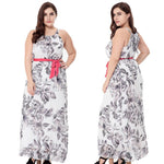 2017 New Women's Floral Print Chiffon Sleeveless Belt Summer Maxi Dress-Justt Click