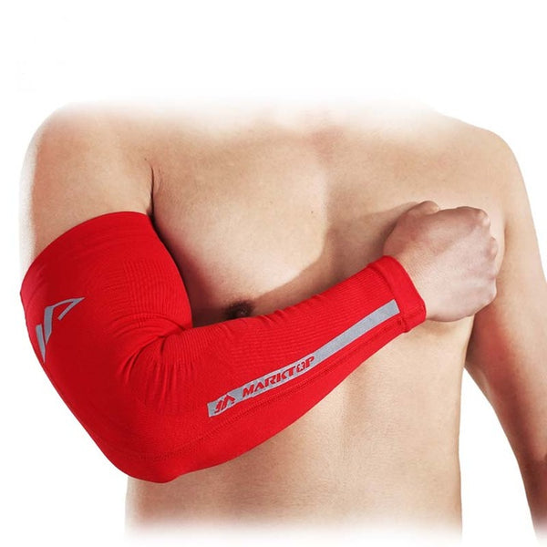 High Elastic Longer Arm Sleeve Armband Basketball Soccer Volleyball Elbow Support Brace Sports Safety Elbow 9177-Justt Click