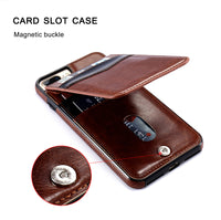 Vertical Flip Card Holder Leather Case For iPhone 6 6s 7 Plus Retro Cover Bag Case For iPhone 8 Plus X 10 Wallet Pouch-Justt Click