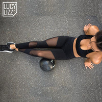 2018 Sexy Mesh Patchwork Sports Leggings Women Fitness Clothing Black Gym Sportswear Running High Waist Yoga Pants-Justt Click