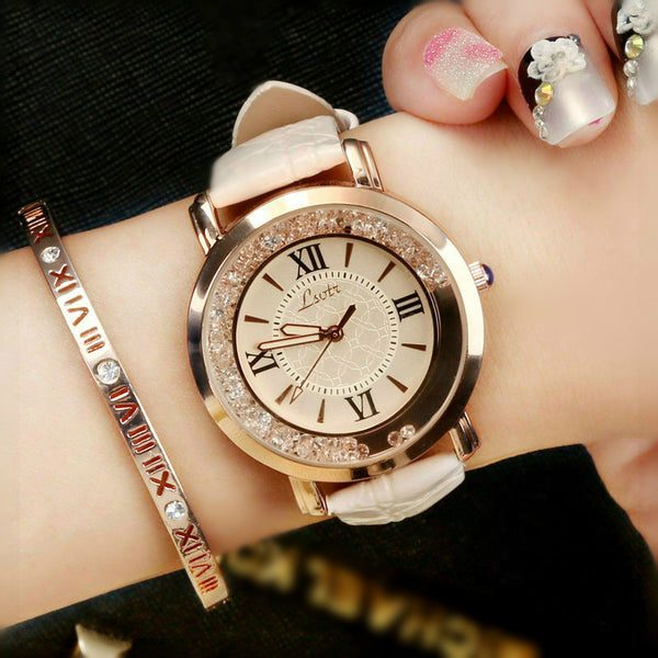 Hot Luxury Brand Diamond Fashion Rhinestone Watch Leather Casual Dress Women's Quartz-watch Crystal Ladies Wristwatch drop ship-Justt Click