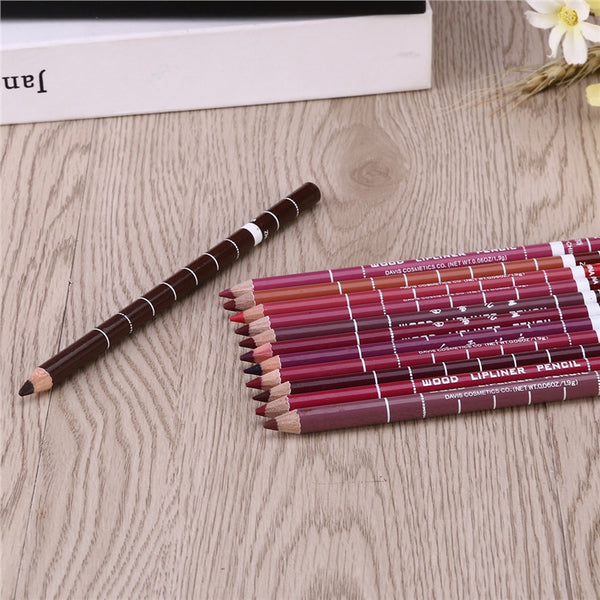 12pcs Women's Professional Makeup Lipliner Waterproof Lip Liner Pencil Set-Justt Click