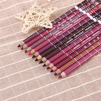 12pcs Women's Professional Makeup Lipliner Waterproof Lip Liner Pencil Set - Justt Click