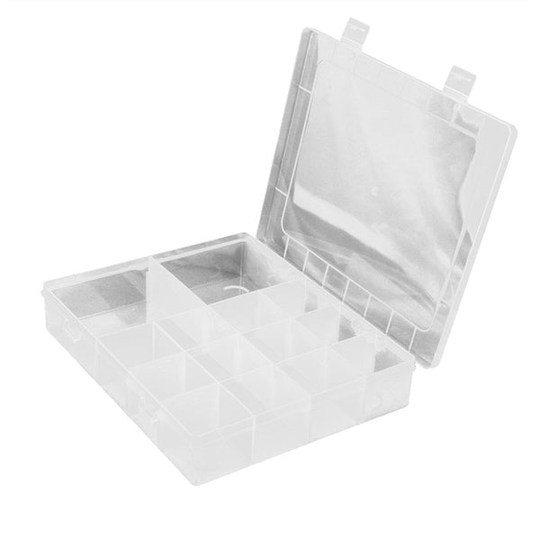 14-Grid Plastic Adjustable Jewelry Organizer Box Storage Container Case with Removable Dividers-Justt Click