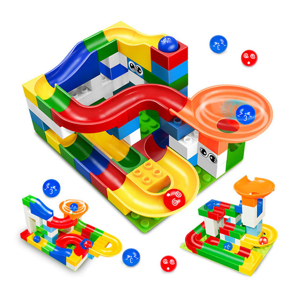 52Pcs Construction Marble Race Run Maze Balls Track Building Blocks Big Size Educational Bricks Compatible with Legoed Duploed-Justt Click