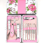 12pcs Stainless Steel Manicure Pedicure Set Nail Scissors Nail Clippers Kit with Case-Justt Click