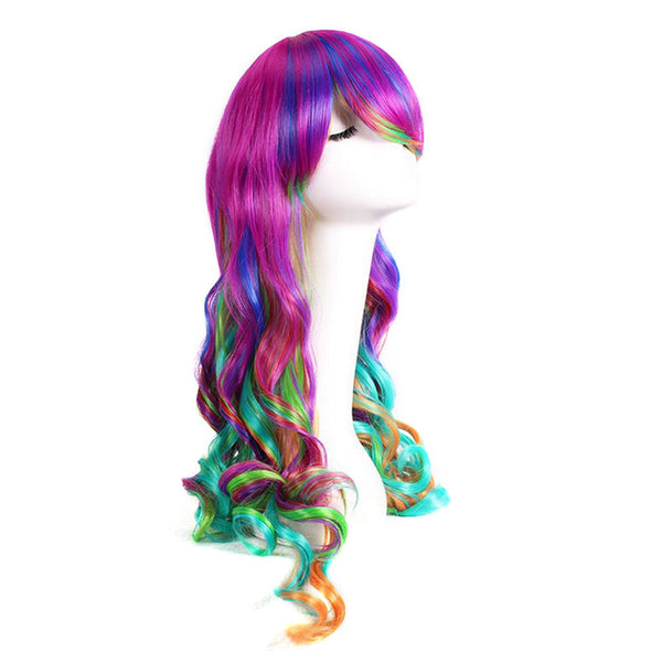 "27.5"" Women's Full Wig Long Curly Hair Heat Resistant Wigs Harajuku Style Hair Wigs Costume Wigs for Cosplay Party Lolita (Dazzle Colour) - Justt Click"