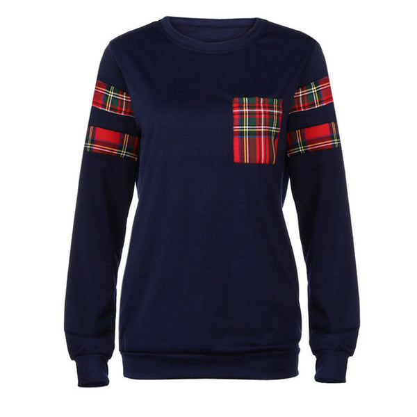 Hoodies Sweatshirts Women Casual Plaid Blouse Navy Long Sleeve Round Neck Shirt Tops Outfit 71222-Justt Click