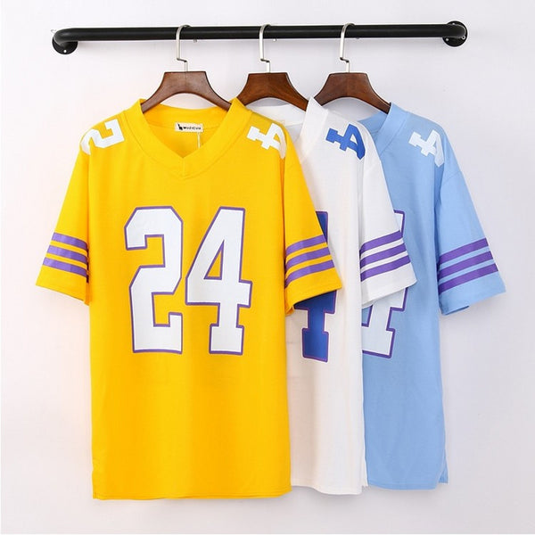 Baseball Tee Shirt Hip-Hop Street No. 24 Kobe Bryant Baseball Trainning Loose Big Size Short Sleeve Baseball Tshirt-Justt Click