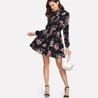 SHEIN Floral Women Dresses Multicolor Elegant Long Sleeve High Waist A Line Dress Ladies Tie Neck Dress (Ship After March 26th)-Justt Click