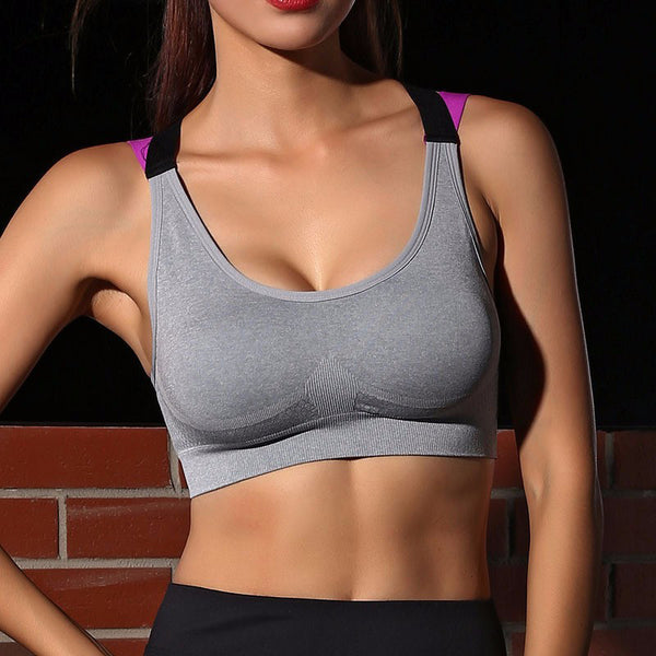 Fitness Yoga Push Up Sports Bra for Womens Gym Running Padded Tank Top Athletic Vest Underwear Shockproof Strappy Sport Bra Top-Justt Click