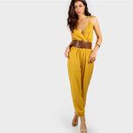 Self Tie Halter Surplice Slanted Pocket Front Tapered Jumpsuit 2018 Deep V Neck Wrap Female Bottom Spring Jumpsuit-Justt Click