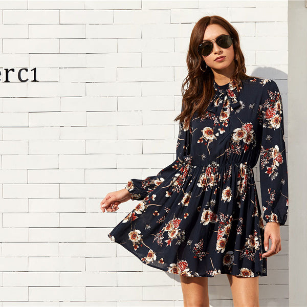 75237aaa8e ... SHEIN Floral Women Dresses Multicolor Elegant Long Sleeve High Waist A Line  Dress Ladies Tie Neck ...