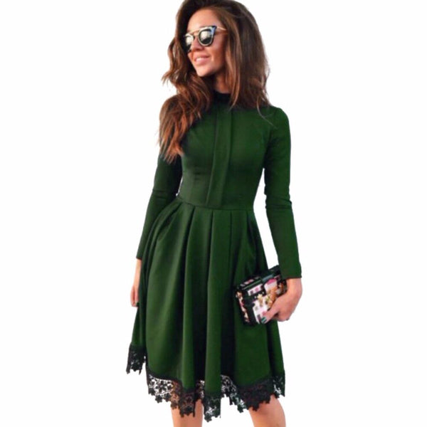 Women Dress 2018 New Fashion Autumn Vintage Long Sleeve Dress Green Purple Red O-Neck Lace Patchwork Party Dresses Plus Size-Justt Click