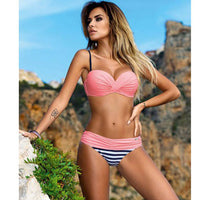 Sexy Bikinis Women Swimsuit 2018 Summer Low Waisted Bathing Suits Halter Top Push Up Bikini Set Plus Size Swimwear XXL-Justt Click
