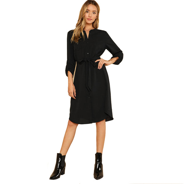 Roll Tab Sleeve Shirt Dress Women Black Pocket Belted High Waist Dress 2018 Summer Workwear Long Sleeve Midi Dress-Justt Click