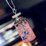 1pc Crystal Wishing Bottle Car Rearview Mirror Hanging Pendant Hanger Ornament Universal Auto Interior Decoration Accessories - Justt Click
