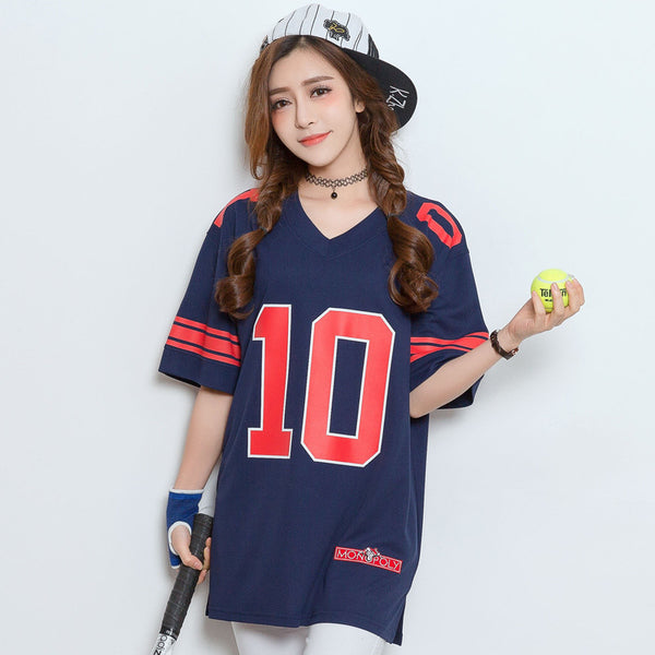 2018 Letter Print Summer Girls V-Neck Hip Hop Loose T shirt Baseball Women Short Sleeve Maillots de Baseball Femmes - Justt Click