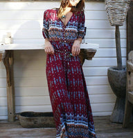 Women Long Maxi Dresses Bohemia V-neck Three Quarter Sleeve Floral Print Ethnic Summer Beach Female Split Stylish Style Dress-Justt Click