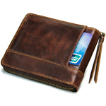Genuine Leather Men's Wallet Vintage Coin Pocket With Card Holder Man Wallet Zipper Male Bag Short Men's Small Purse-Justt Click