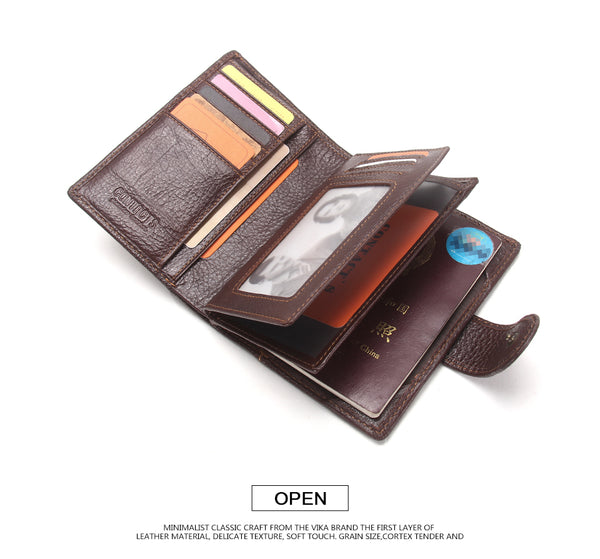 Real Genuine Leather Mens Passport Holder Wallets Man Cowhide Passport Cover Purse Brand Male Credit&Id Car Wallet-Justt Click