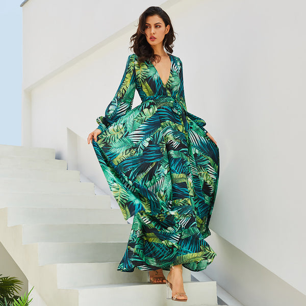 Long Sleeve Dress Green Tropical Beach Vintage Maxi Dresses Boho Casual V Neck Belt Lace Up Tunic Draped Plus Size Dress-Justt Click
